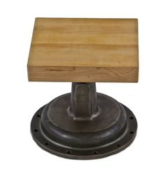 dignified c. american industrial boylston refinished cast iron steam vale bonnet with newly added solid maple wood square-shaped top Repurposed Furniture, Industrial Furniture, Steam Iron, Steam Valve, Wood Square, Cast Iron, Stationary, American, Metal