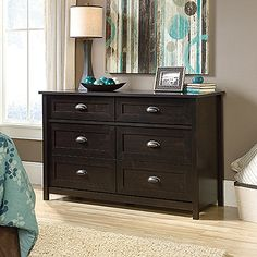 Darby Home Co Coombs 6 Drawer Double Dresser Color: Estate Black Six Drawer Dresser, Dresser Sets, Double Dresser, Dresser As Nightstand, Commercial Office Furniture, Bedroom Dressers, Bedroom Furniture, Modern Dresser, Furniture Manufacturers