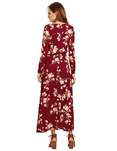 Floerns Women's Long Sleeve Floral Print Button Casual Maxi Dress