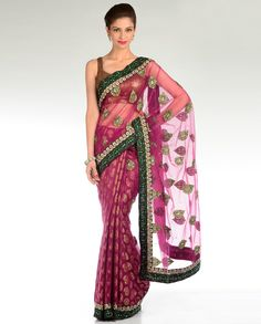Magenta Sari with Embellished Pallu