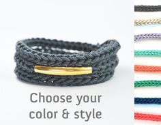 Choose your color and style gold bar bracelet or by LeiniJewelry, €12.90