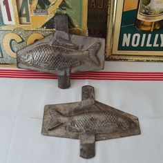 ANTIQUE METAL CHOCOLATE MOLD MOLDE MOULD NUMBERED SIGNED Fish 6.89  inches