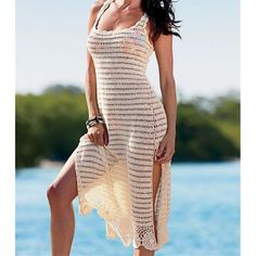 Maxi Crochet Beach Dress; - Sexy and beautiful long crochet beach dress - One size only - Length 105 cm - Made from Polyester