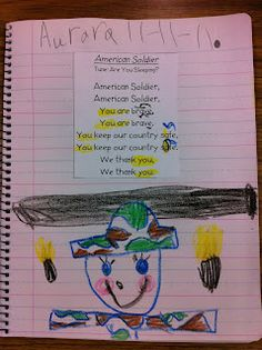 "Veterans Day Poem ""American Soldier' from a Deanna Jump's unit.  Focus on sneaky e."