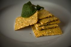 Grain-Free Crackers. Almond flour, allowed seasonings, allowed seeds, butter and egg.
