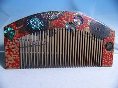 [Kotsuki] antique Laden crafted flower Makie of comb (sash clip hairpin) _ image 1