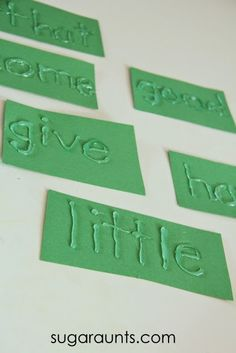 Sugar Aunts: Sight Word Crayon Rubbing Activity. She used a hot glue gun to write the words on cardstock.