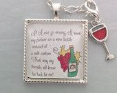 We like wine. I look for cute wine sayings images and make pendants out of them. What A Grape Idea! Wine Sayings, Wine Quotes, Lighted Wine Bottles, Bottle Lights, Mosaic Wall, Handmade Crafts, Jewelry Making, Pendants, Christmas Ornaments