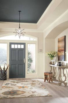 Shop the Look Traditional Foyer Design by Sherwin-Williams® in Sherwin-Williams. Shop the Look Traditional Foyer Design by Sherwin-Williams® in Sherwin-Williams® Home Office & En Foyer Paint, House Design, Foyer Design, Colorful Interiors, Home, Foyer Paint Colors, House Interior, Colored Ceiling, Foyer Colors