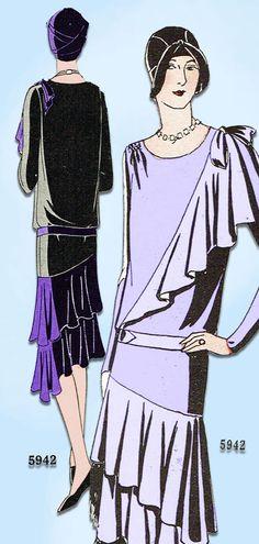 1920s VTG Ladies Home Journal Sewing Pattern 5942 FF Flapper Cocktail Dress 38 B #LadiesHomeJournal #FlapperFrock