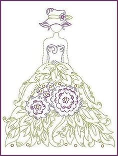 Beautiful lady to embroider. I like the skirt idea. Sewing Machine Embroidery, Embroidery Needles, Hand Embroidery Patterns, Vintage Embroidery, Embroidery Applique, Cross Stitch Embroidery, Cross Stitch Patterns, Embroidery Designs, Blackwork