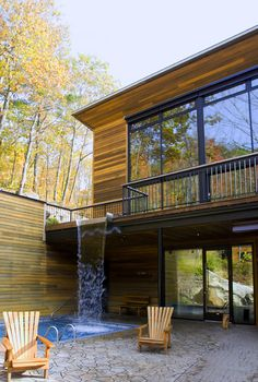 Modern Home. Waterfall into the swimming pool?!