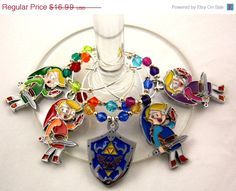 ANNIVERSARY SALE Legend of Zelda: Four Swords Inspired geeky wine glass charms by TheWarpZoneStore