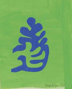 Petite arabesque bleue sur fond vert by Henri Matisse. Medium: signed and dated 'Matisse (lower right) gouache and collage on paper 9 x 7 in. Henri Matisse, Matisse Art, Raoul Dufy, Acrylic Painting Lessons, Painting & Drawing, Matisse Cutouts, Jean Arp, Atelier D Art, Picasso Paintings