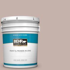 BEHR Premium Plus 5 gal. #PPU17-10 Mauvette Zero VOC Satin Enamel Interior Paint