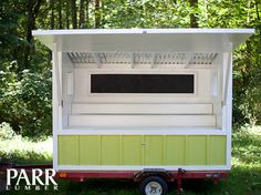 """""""The bright green structure on the trailer is a mobile farm stand I built for an orchard I manage in Albany. The owner has 50 trees in her orchard and a decent sized garden as well as a number of chickens. They sell their apples, cider, vegetables and farm-fresh eggs. She wanted a bright, cheery farm stand so that her and her daughter could sell produce together. They can tow it the 2 miles into town to the farmers market as well,"""" David Reece, Sales Coordinator at Parr West Linn."""