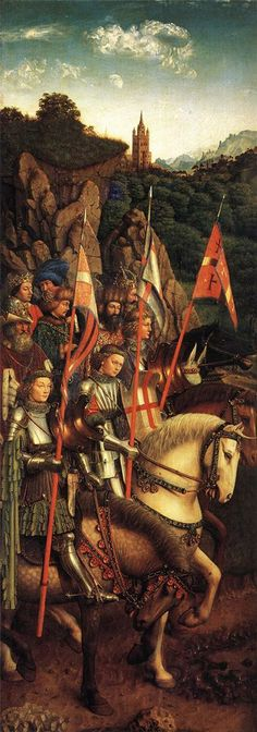 The Soldiers of Christ    Artist: Jan van Eyck    Start Date: 1427    Completion Date:1430    Style: Northern Renaissance    Genre: history painting    Technique: oil    Material: wood    Gallery: St. Bavo Cathedral, Ghent, Belgium    Tags: knights-and-warriors, battles-and-wars