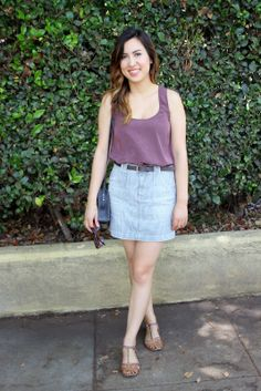 Railroad Stripes. Madewell Mini Skirt, Asos Tank Top, and Dolce Vita Sandals. Summer outfit.