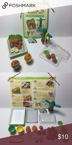 🍘 Rainbow Deli Japanese Croquette Lunch Set 🍘 Japanese Miniature Collectibles.   The set is complete/not missing any pieces. In excellent condition. These were never played with, only displayed in a glass case.   Great for display, putting in your planters, accessories for dolls, etc.  Tags: kawaii, japanese, rement, re-ment, miniatures, fairy garden, planter, anime, food, cute, blind box Accessories