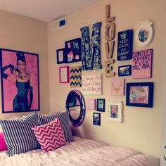 Photo collage #diy #college #pink #gold #glitter #chevron #apartment #love #design