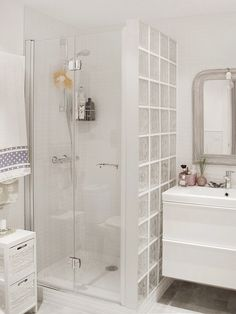 Bathroom decor for your bathroom remodel. Discover bathroom organization, bathroom decor ideas, bathroom tile ideas, bathroom paint colors, and more. Bathroom Design Small, Bathroom Layout, Bathroom Interior, Modern Bathroom, Nautical Small Bathrooms, Shower Remodel, Bath Remodel, Glass Block Shower, Glass Bathroom