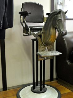 Barbershop in Trastevere, Rome child's horse head barber chair Kids Barber, Kids Salon, Barbershop Design, Barbershop Ideas, Salon Style, Barber Chair, Armchair, Old Things, Tattoo Man