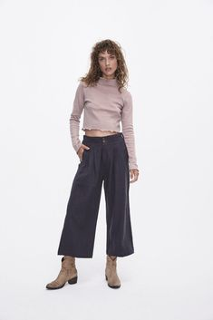 Violeta by Mango Women Linen suit trousers Light Pink