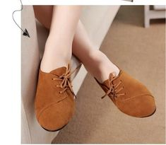 2017 New Spring Casual Women Shoes Women Nubuck Leather lace-Up Flat Shoes Handsome Head Toe Shoes Lace Up Flats, Suede Shoes, Flat Shoes, Pointed Toe Flats, Doll Shoes, Leather And Lace, Womens Flats, Casual Shoes, Lace Design
