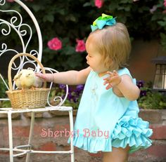 Ruffled Pinafore Dress & Sassy Pants Ruffle Diaper Cover Set Shown in Aqua on Etsy, $68.00