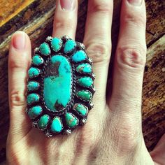 Cocktail ring turquoise with burnt orange nails