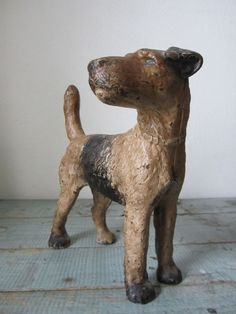 Antique Cast Iron Doorstop Airedale Terrier Dog Hubley Original Paint #Hubley Antique Decor, Vintage Decor, Vintage Antiques, Airedale Terrier, Terriers, Wire Fox Terrier, Iron Furniture, Ceramic Animals, Ideas