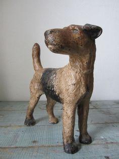Antique Cast Iron Doorstop Airedale Terrier Dog Hubley Original Paint #Hubley