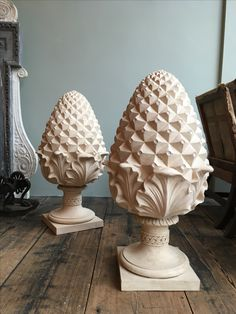 Based on an original century antique, these Coade reproduction of finials are a sign of hospitality. Wood Appliques, Carved Eggs, Trumeau Mirror, Ceramic Texture, Chip Carving, Wood Vase, Antique Lighting, Wooden Art, Staircase Design