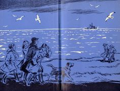"""""""Five on Kirren Island Again"""" Endpapers from the edition, illustrated by Eileen A. Children's Book Illustration, Illustration Styles, Enid Blyton Books, The Famous Five, Who Book, Black And White Drawing, Treasure Island, Children's Books, Art Inspo"""