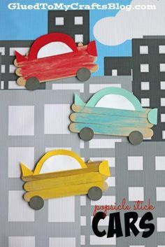 Popsicle stick cars - kid craft transportation crafts, transportation theme for toddlers, preschool art Kids Crafts, Popsicle Stick Crafts For Kids, Daycare Crafts, Glue Crafts, Popsicle Sticks, Craft Activities For Kids, Craft Stick Crafts, Toddler Crafts, Car Crafts