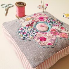 """Pretty hexagon pincushion @ sewingroomsecrets - adapted from a pattern in """"Patchwork Please"""""""