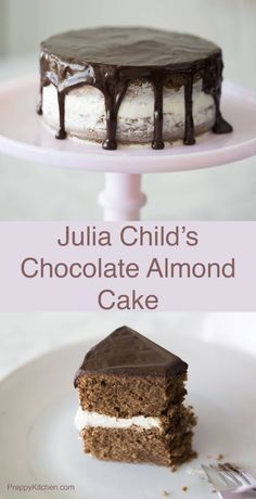 Julia Child's amazing Reine de Saba avec Glaçage au Chocolat (Chocolate Almond Cake), made in two layers with an amazing marzipan buttercream filling.Click over for full recipe. via /preppykitchen/