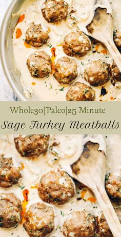 Unbelievably Easy Oven Baked Paleo Turkey Meatballs And Sage Cream Sauce Gluten Free, Keto, Paleo. Ideal For A Weeknight Dinner Or Breakfast On The Table In Less Than 25 Minutes Paleo Turkey Meatballs. Paleo Chef, Paleo Menu, Whole30 Dinner Recipes, Paleo Dinner, Paleo Recipes, Sauce Recipes, Paleo Food, Diet Menu, Raw Food