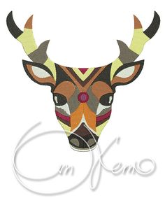 MACHINE EMBROIDERY FILE - Deer    *******YOU MUST HAVE AN EMBROIDERY MACHINE TO SEW OUT THESE FILES.*******    1 Version  W: 99.0 mm (3.90 inches)  H: