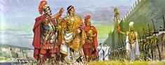 """""""Vers 330, l'empereur romain Constantin et son état-major inspectent le camp militaire de Drobeta"""", Pierre Joubert"""