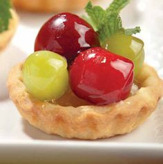 Teeny pies are just the cutest things and perfect for showers and parties. Fill Mini Fruit Tarts with whatever looks good - cherries and grapes are a good start! Hy Vee Recipes, Mini Fruit Tarts, Sugar Cookie Dough, Sweet Cherries, Homemade Breakfast, Dessert Recipes, Desserts, Delish, Food And Drink