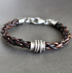Mens Bracelet Braided Leather with Sterling Silver Tube