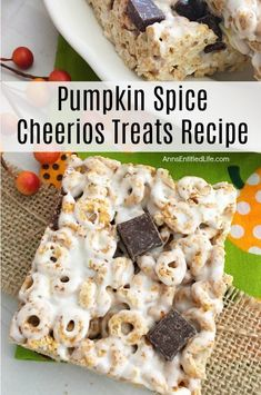 Pumpkin Spice Cheerios Treats Recipe. These delicious treats are great for kids and adults alike. Easy to make, this 4-ingredient pumpkin spice Cheerios recipe is perfect for lunch boxes, dinner time dessert, or a snack-time sweet. Grab a glass of milk or a cup of coffee and have one of these Pumpkin Spice Cheerios Treats tonight. Cheerios Recipes, Snack Recipes, Snacks, Pumpkin Spice Cheerios, Cheerio Treats, Crispy Treats Recipe, Fall Boards, Pumpkin Muffin Recipes, Thumbprint Cookies Recipe