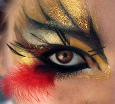 Dramatic stylized makeup with fun feather accent. by yvette whoa thats amazing! Bird Makeup, Makeup Art, Makeup Ideas, Makeup Geek, Fantasy Make Up, Bird Costume, Crazy Eyes, Dramatic Makeup, Crazy Makeup