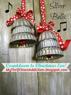 repurposed silver bells, christmas decorations, crafts, repurposing upcycling, seasonal holiday decor