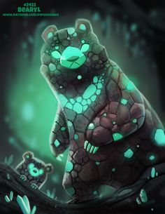 Daily Paint Bearyl by Cryptid-Creations on DeviantArt Cute Animal Drawings, Kawaii Drawings, Cartoon Drawings, Cute Drawings, Cute Fantasy Creatures, Cute Creatures, Mythical Creatures, Creature Drawings, Creature Concept