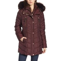 Women's Andrew Marc Marley 30 Coat With Detachable Faux Fur ($228) ❤ liked on Polyvore featuring outerwear, coats, burgundy, burgundy faux fur coat, andrew marc, burgundy coat, red faux fur coat and andrew marc coats
