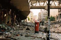 This red post box survived WWII and, pictured here, the 1996 IRA bombing in Manchester City Centre. It remains standing today and is a testament to the resilience and determination of Mancunians in the face of terrorism. The people of Manchester are my favorite people in the world, and I'm proud to've lived there if only for a time.