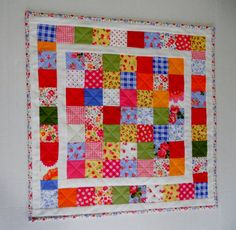 Quilted Patchwork Wall Hanging Retro by ForgetMeNotQuilteds, $35.00