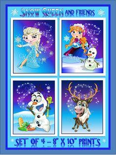 "FROZEN inspired CHIBI ART titled ""Snow Queen and Friends"" Prints, Elsa, Anna, Olaf, Sven, Fantasy Art, Fan Art, Whimsical Room  Decor"